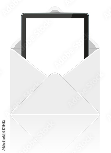 Vector computer tablet in mail