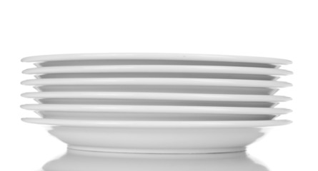 empty plates isolated on white