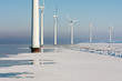 Dutch offshore windturbines in a frozen sea