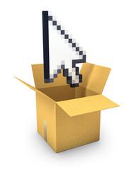 Pixel arrow cursor flies out of a carton box