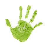 High resolution green painted hand print