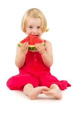 little girl eats melon
