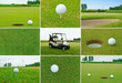 Golf set with balls, course and car.