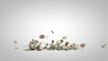 Animated Euro Coins Falling in Slowmotion