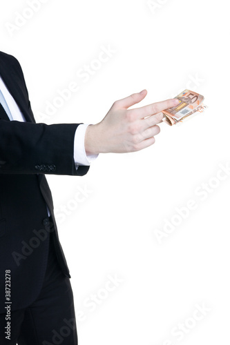 man wearing suit giving money on white background