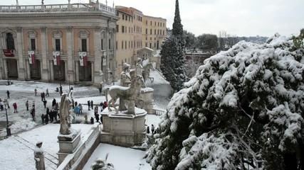 Piazza del Campidoglio in the snow, Rome