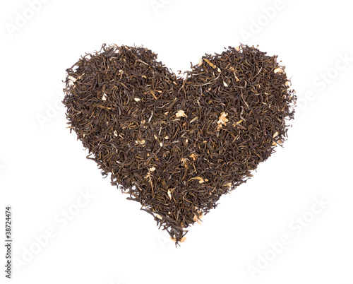 Heart Symbol Composed Of Green Tea. Ideal For REAL Tea Lovers