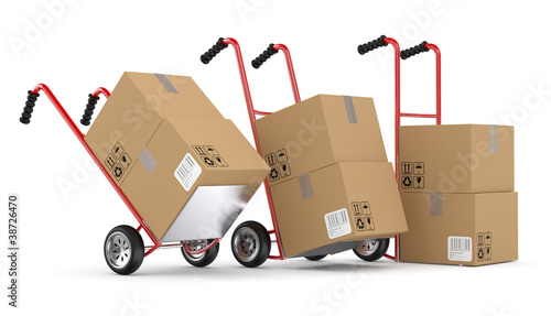 Hand trucks and carboard boxes. 3D model isolated on white backg