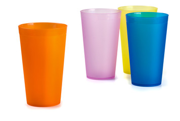 Four colorful plastic cups