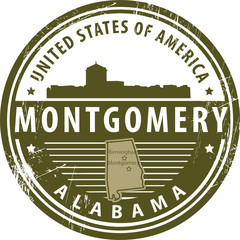 Stamp with name of Alabama, Montgomery, vector