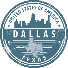 Stamp with name of Texas, Dallas, vector