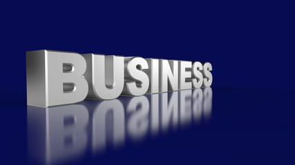 3D Business Text Silver on blue