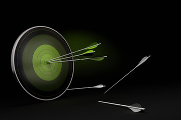 green target black background three arrows objectives