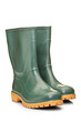 A studio shot of a green rubber boots