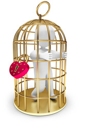 man trapped in a golden cage, on a white background, 3d render