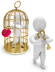 man in a golden cage, person holds the golden key