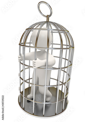 man in the cage, on a white background, 3d render