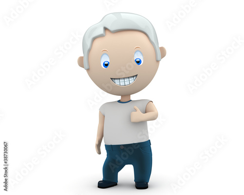 Social 3D characters: smiling grey haired man LIKE gesture