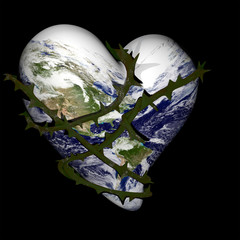 Earth Heart Wrapped with Thorns