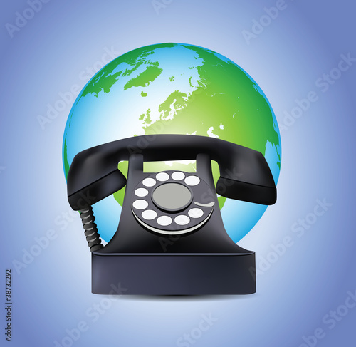 Old Telephone and Earth Globe