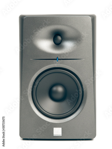 studio audio monitors isolated on white