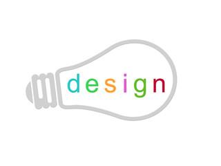 Bombilla con la palabra Design