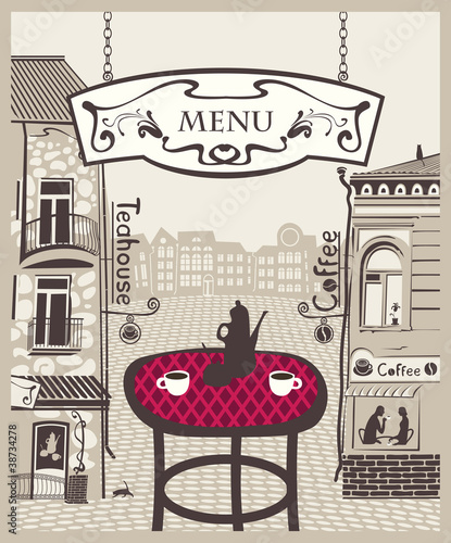 city cafe with table and hot tea © paseven