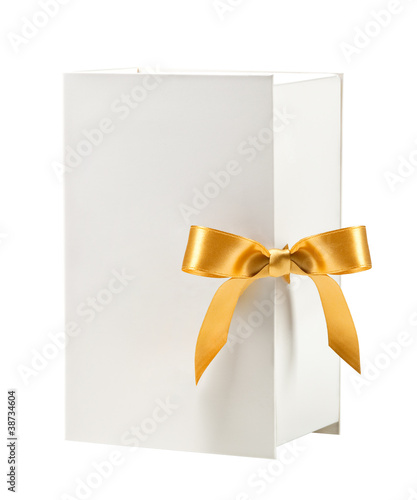 White box with golden bow