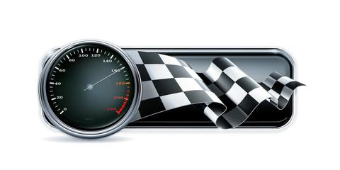 Racing banner with speedometer