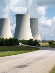 Cooling towers of nuclear power plant and road