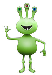 Green Three-Eyed Extraterrestrial Alien Waving
