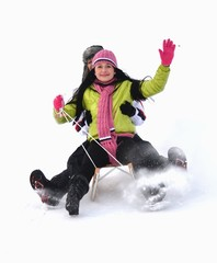 girls sledding