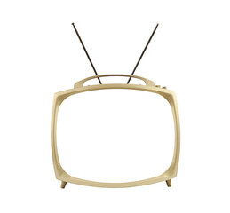 Blank Screen 1950's Portable Television with Antennas Up