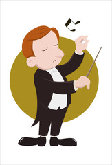 A conductor conducts musicians