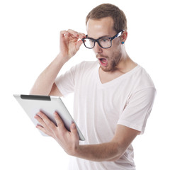 Surprised Nerd Man Looking at Tablet Computer