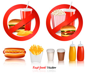 Two Fast food danger labels and fast food products..