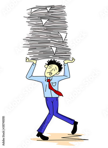 Tired man carrying papers