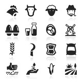 Farm Icons set elegant series