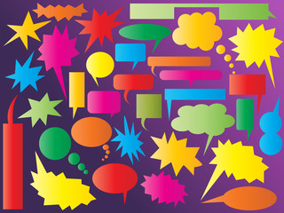 Collection of colourful speech and thought bubbles