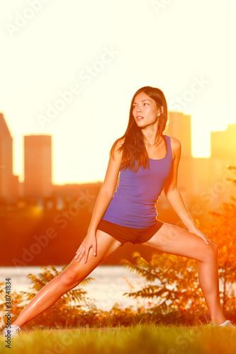 Runner woman training outside
