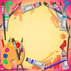 Vector Illustration with Paint Tubes, Brushes and Pencils