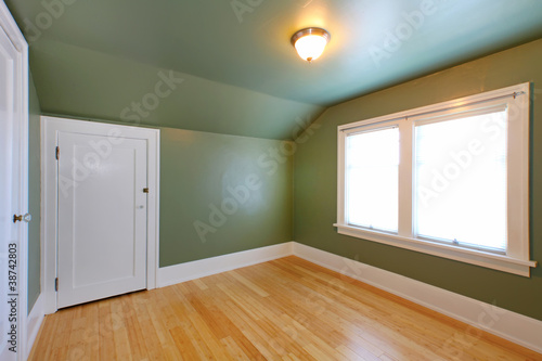 Attic room with green wals and birch hardwood floor.