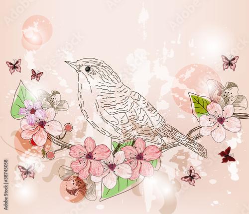 manifesto primaverile con uccello e fiori di pesco
