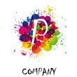 Splash Logo letter P # Vector
