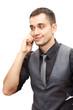 Smiling man talking on phone isolated on white background