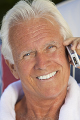 Handsome Senior Man Talking on Cell Phone