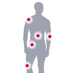 Silhouette junges Mannes mit Gelenkschmerzen