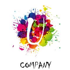Splash Logo letter U # Vector