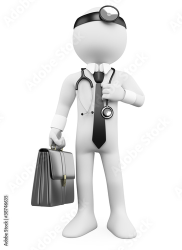 3D Doctor with a briefcase and a stethoscope