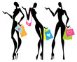 Vector Illustration shopping women with bags.  Isolated.